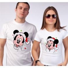 Парные новогодние футболки Микки и Минни