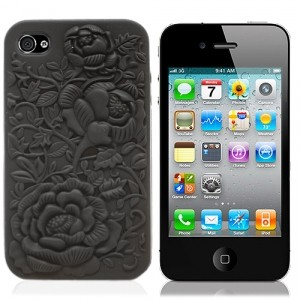 Чехол для iPhone 4/4S Flower Relief (черный)