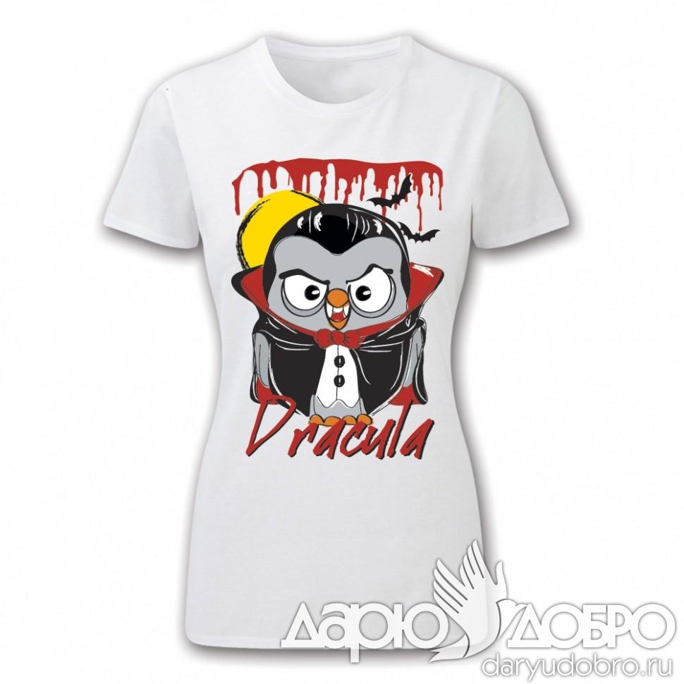 Женская футболка с совой Дракула