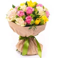 Букет цветов 21 роза микс (40 см.)
