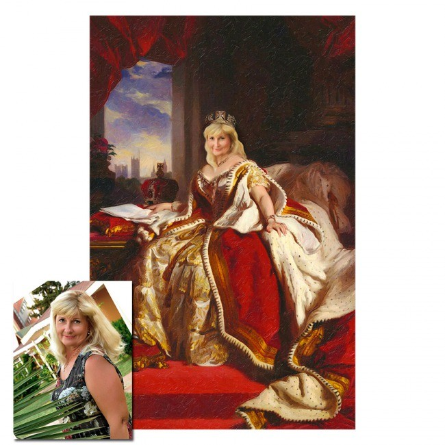 Монтаж лица в образ королевы