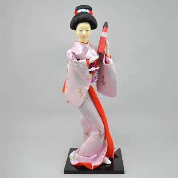 Статуэтка Гейша с веером в лиловом кимоно
