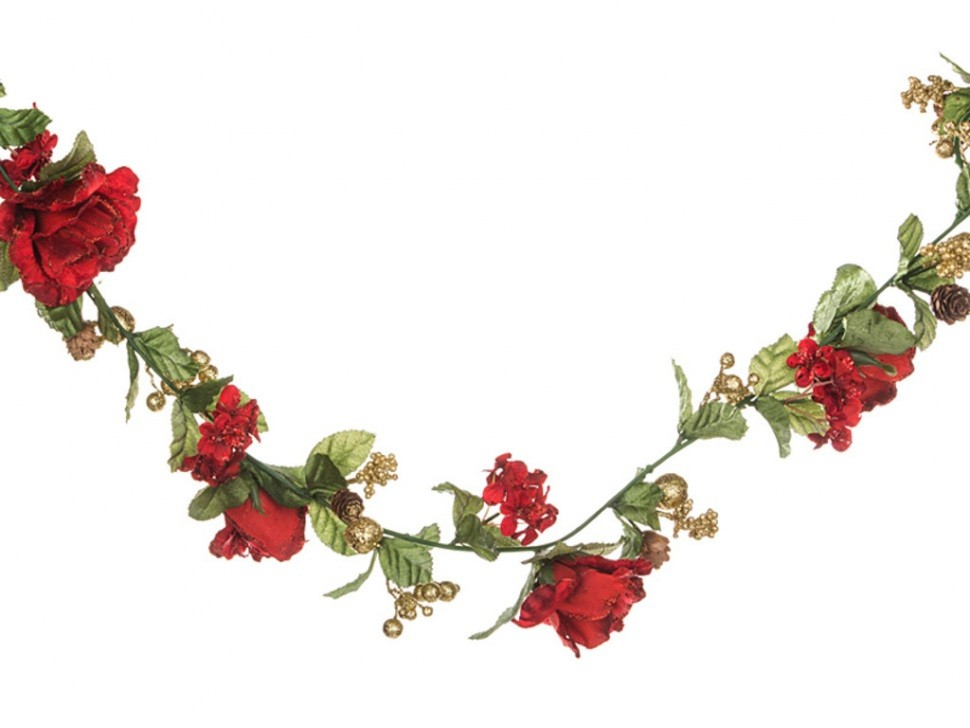 Гирлянда Розы, гортензии, ягоды (цвет — красный)