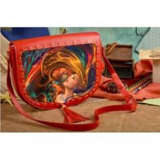 Женская сумка-седло Взмах разноцветных волос