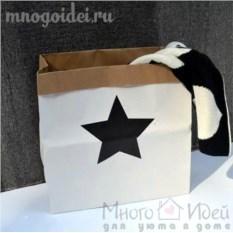 Эко-мешок для игрушек из крафт бумаги Звездочка