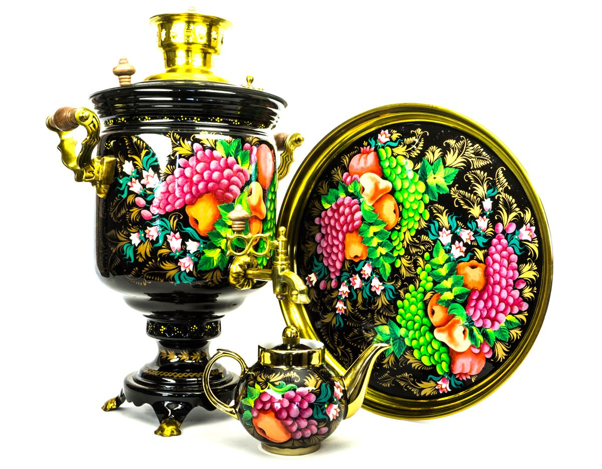 Дровяной самовар с ручной росписью Фруктовый пир
