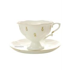 Фарфоровая чайная чашка с блюдцем Петельки