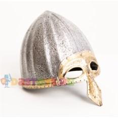 Детский шлем богатыря с золотистой полумаской