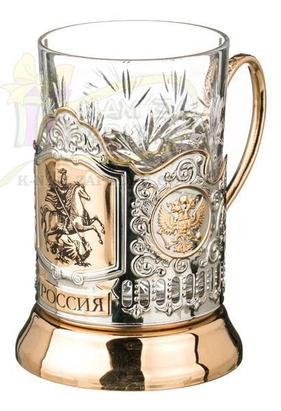 Хрустальный стакан с подстаканником Георгий Победоносец