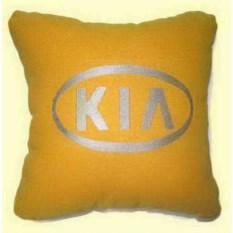 Желтая с серебристой вышивкой подушка Kia