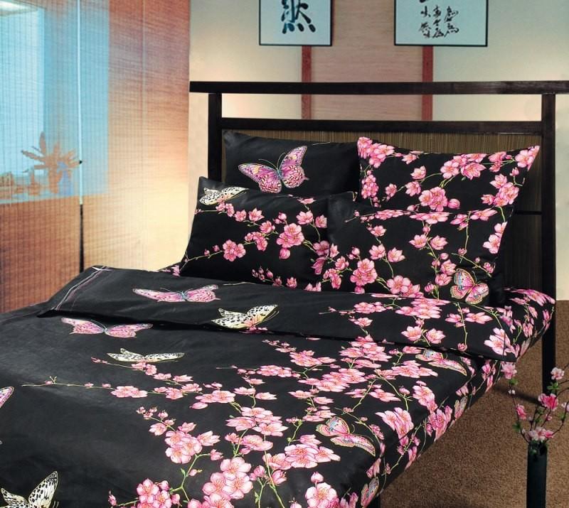 Комплект постельного белья Сакура черный (бязь)