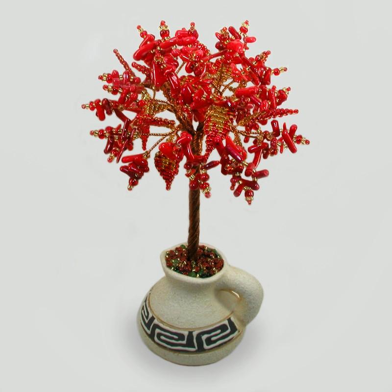 Дерево счастья из коралла в вазочке из белой глины