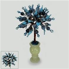 Дерево из камней черного агата в вазочке из оникса