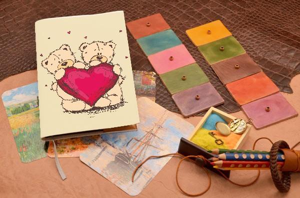 Ежедневник с принтом Мишки с сердцем