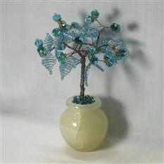 Дерево счастья из топаза в вазочке из оникса