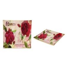 Декоративное стеклянное блюдо с розами