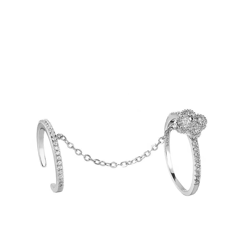 Серебряные кольца с фианитами и цепочкой на две фаланги