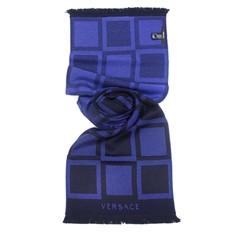 Шарф в клетку синими и темно-синими оттенками Versace