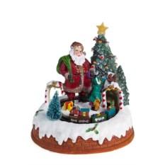Новогодняя светящаяся музыкальная игрушка Дед Мороз у елки