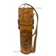Термос Медведь в чехле из натуральной кожи