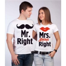 Парные футболки Mr. Right & Mrs. always Right