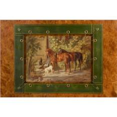 Картина из кожи Лошади у крыльца Адам Альбрехт