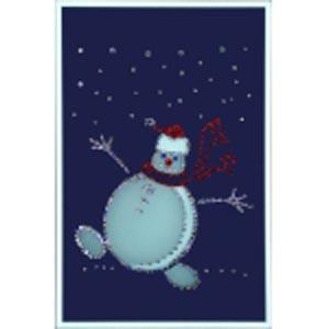 Картина из кристаллов «Веселый снеговик»