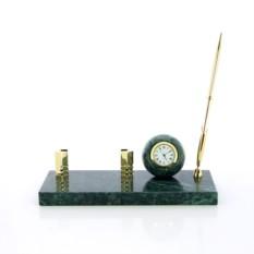 Настольный набор с часами, держателем для визиток и ручкой