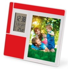 Красная рамка для фотографии с часами, датой и термометром