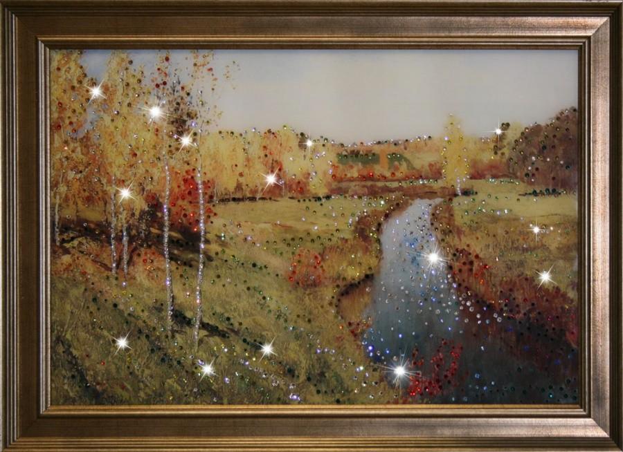 Картина с кристаллами Swarovski Золотая осень