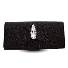 Черное портмоне из кожи ската