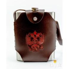Фляга в коричневом чехле с гербом Россия