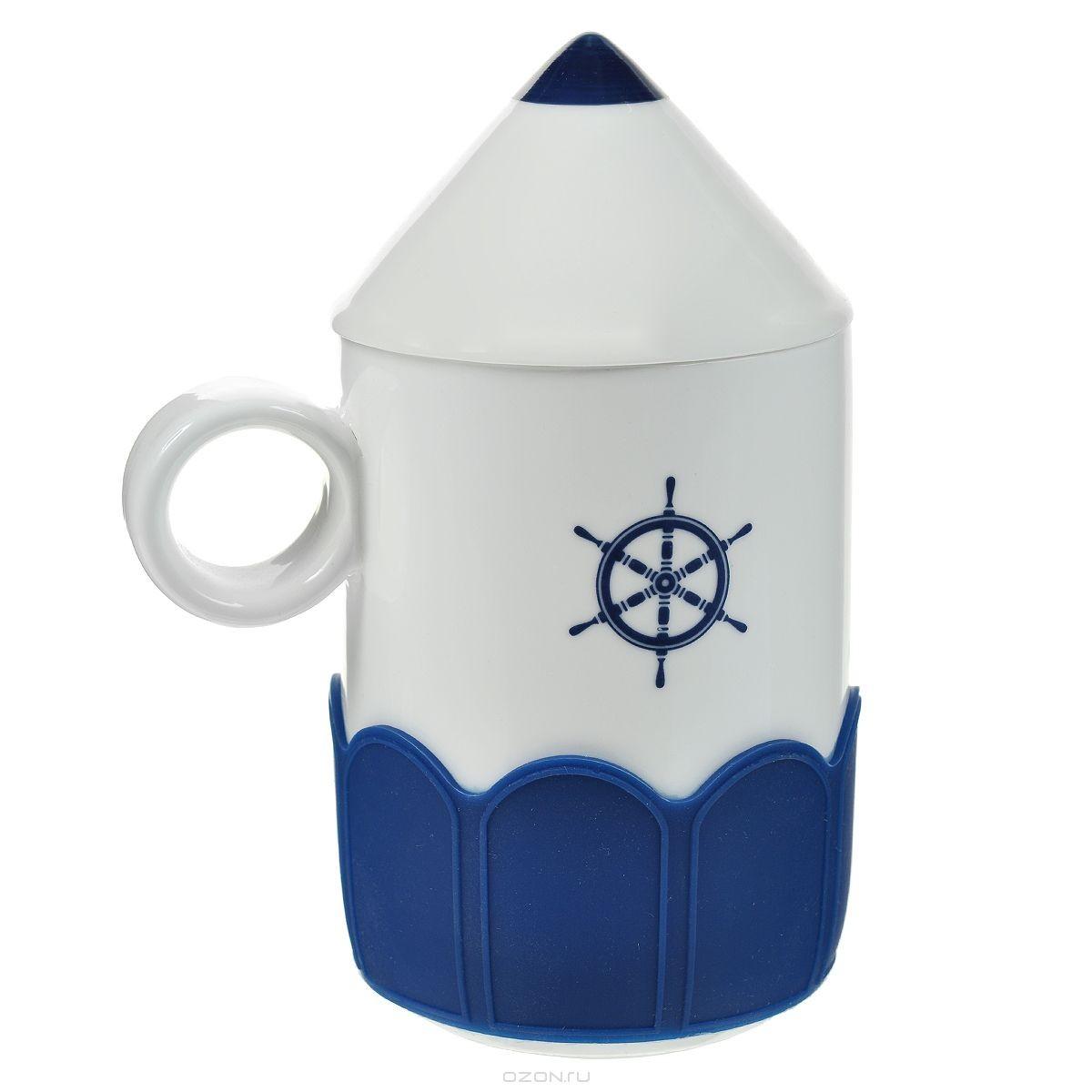 Кружка Карандаш, с крышкой, цвет: белый, синий.