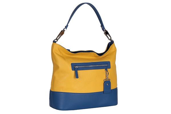 Сине-желтая женская сумка Fabretti из натуральной кожи