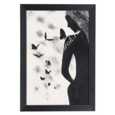 Рисунок из каменной крошки в рамке Девушка с бабочками