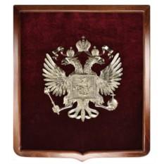 Панно из бронзы с геральдической рамкой Герб России