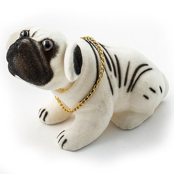 Фигурка Собака качающая головой. Бульдог белый