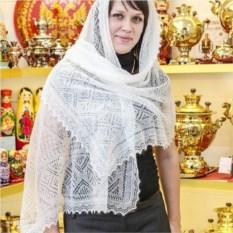 Оренбургский пуховый палантин (цвет: белый)