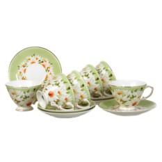 Салатовый чайный набор на 6 персон