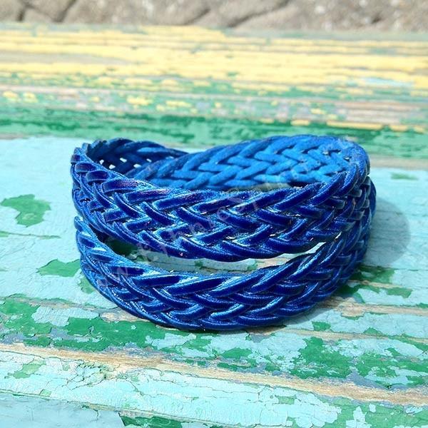 Плетеный кожаный браслет, синий