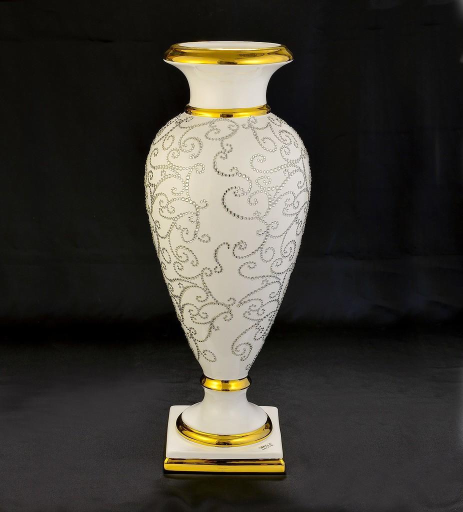 Керамическая ваза Арабеск с кристаллами Сваровски
