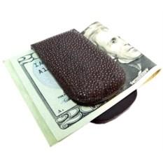 Прищепка с магнитом для денег из полированной кожи ската