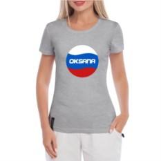 Серая именная женская футболка Триколор