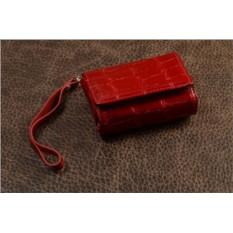 Чехол для фотоаппаратов из кожи (красный, крокодил)