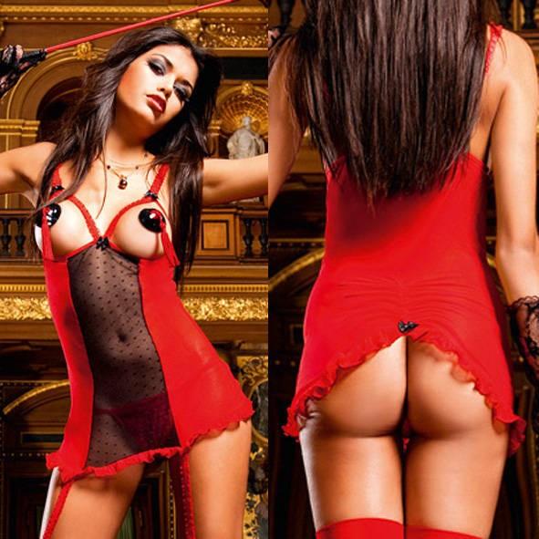 Мини-платье Devil OS (42-46), красное с черным