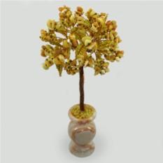Дерево судьбы из янтаря в вазочке из оникса