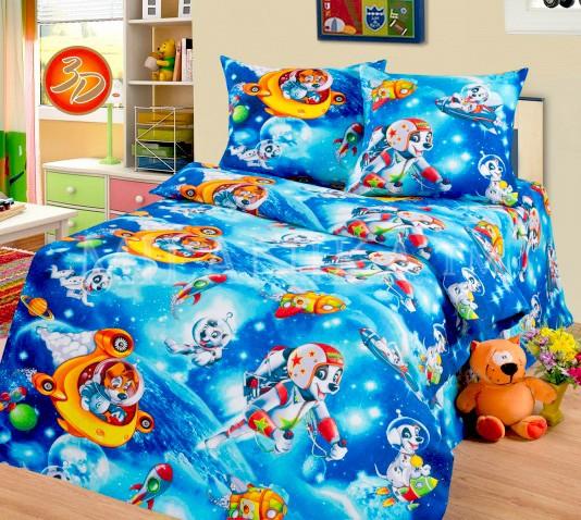 Синее детское постельное белье из бязи Cleo