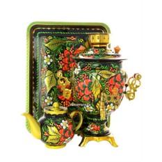 Самовар с росписью Хохлома классическая, поднос и чайник
