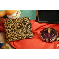 Бежевое кожаное портмоне Леопардовый паттерн 37061