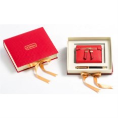 Красный подарочный набор Ручка и портмоне из экокожи